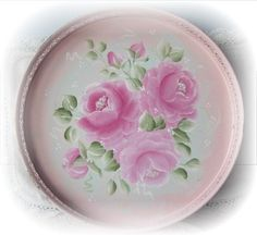 Hp Roses Tole Tray Vanity Vintage Chippy Chic Shabby Cottage Round Moderate Price Antiques
