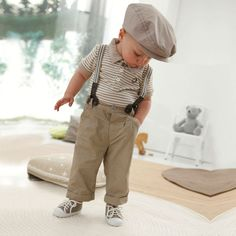 Baby Boy Toddler Kids Striped T-shirt Top+Bib Pants Overalls Outfit Clothing Set Baby Boy Suspenders, Suspenders Outfit, Fashion Kids, Baby Boy Fashion, Autumn Fashion, Cute Baby Boy, Cute Babies, Baby Overalls, Overalls Outfit