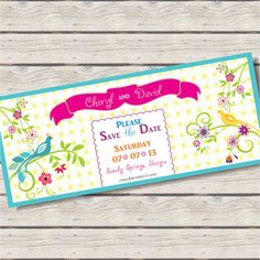Birds of Paradise Save the Date 4x9 Announcement by AllisStudio, $15.00