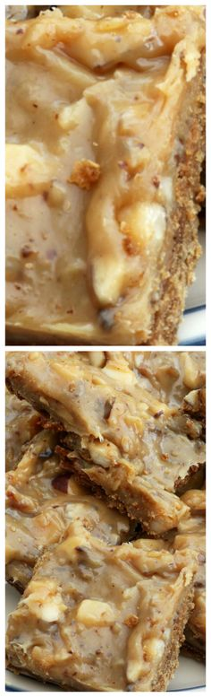 Chewy Nutty Squirrel Bars ~ Super easy to make... A crisp cookie base is covered with a chewy filling, and that chewy filling is topped with a delightfully delicious swirl of caramel and nuts.