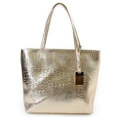 Brand Fashion Casual Women Shoulder Bags Silver Gold Black Crocodile Handbag PU Leather Female Big Tote Hand Bags #21Sh31/9