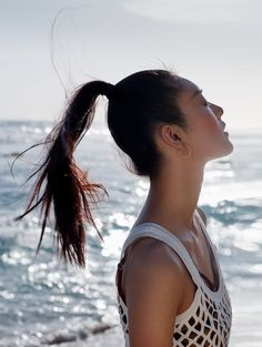 Liu Wen wears a ponytail hairstyle for ELLE China March 2016