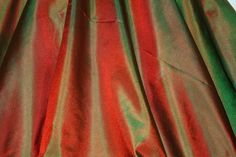 "Red/Green Tissue Taffeta Silk, 100% Silk Fabric, 44"" Wide, By The Yard (TS-7322)"
