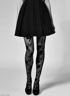 Flowered tights to add pattern to an outfit