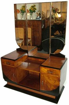 Art Deco dressing table. I would use this as a bathroom vanity with a vessel sink.