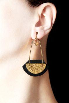 Pendientes largo Clip en pendientes de oro a enroscar pendientes Clip en pendientes de Clip pendientes moderna grande de la joyería modernista tornillo trasero