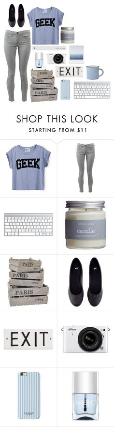"""GEEK"" by matteaoriana ❤ liked on Polyvore featuring Frame Denim, Common Good, H&M, Rosanna, Nikon, Isaac Mizrahi and Nails Inc."