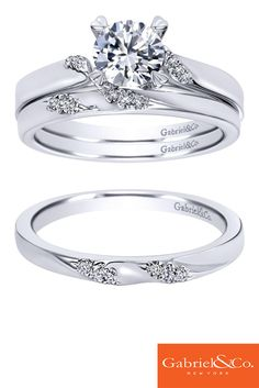 The perfect pair. A stunning Gabriel & Co. 14k White Gold Diamond Solitaire Engagement Ring paired with a 14k White Gold Diamond Straight Wedding Band.