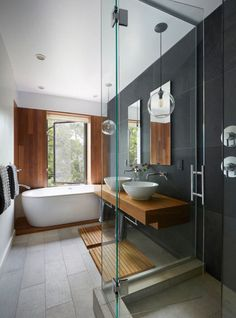 Bathrooms, even when they're on the larger side, aren't always the biggest rooms and when you throw in a shower or tub, a sink, and a toilet, they get even smaller. Top that with busy stone patterns,