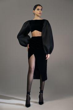 Draped Velvet Midi Skirt by Rasario Couture Fashion, Runway Fashion, High Fashion, Fashion Show, Womens Fashion, Fashion Trends, Classy Fashion, Fashion Hacks, Party Fashion