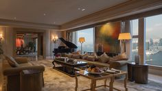 The 43rd-floor luxury suite includes a butler and grand piano, with views of Victoria Harbor from the top of the hotel. There's also separate private study for those who (unfortunately) have to work. From $8,300/night; fourseasons.com