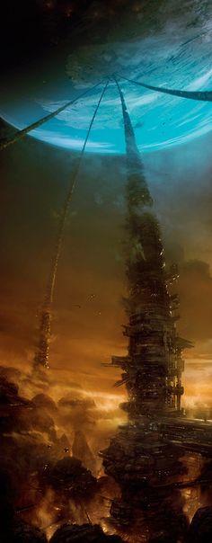 Moon Mine by Marcin Jakubowski - science fiction art - sci-fi Arte Sci Fi, Sci Fi Art, Fantasy Places, Sci Fi Fantasy, Fantasy World, Dark Fantasy, Final Fantasy, Art Science Fiction, Creation Art