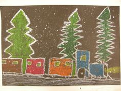 """The Polar Express"" ~ Draw Polar Express trains using oil pastels. Then splatter white paint over your artwork using a toothbrush to create snow!"