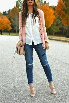 Closet Favorites: Blush Pink Cardigan, Everlane Pocket Blouse, Rebecca Minkoff Bowery Bag, Destroyed Denim + Valentino Rockstuds on For All Things Lovely! Trend Fashion, Look Fashion, Autumn Fashion, Womens Fashion, Fashion Ideas, Ladies Fashion, Mode Outfits, Casual Outfits, Fashion Outfits