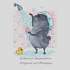 "Cross stitch design ""Pug in Shower"" #sa_stitch #sa_pattern #pattern #crossstitch"