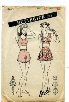 Vintage SEWING PATTERN Butterick 1940's TEEN MISS Bare Midriff BATHING SUIT Sz14