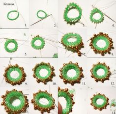 Free photo tutorial weave pattern on the circle definitely needs translation seed bead tutorial Beaded Jewelry Designs, Seed Bead Jewelry, Seed Bead Earrings, Beaded Jewellery, Free Beading Tutorials, Beading Projects, Beading Patterns, Peyote Beading, Bead Earrings