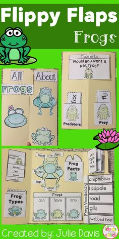 Frogs Flippy Flaps!  This is a great way to get your students learning about Frogs in a fun hands-on interactive way! Your students will be engaged and learn about Frogs in many different ways!  Activities included:  - Label Frog - Frogs KWL - Frogs can/have/are - Frogs Facts - Life Cycle of a Frog - Frogs Vocabulary - All About Frogs - Types of Frogs - Describe a Frog - Predator/Prey Sort - If I was a frog... writing prompt - Compare Frog/Toad - Compare Frog/Tadpole - Favorite Frog Book