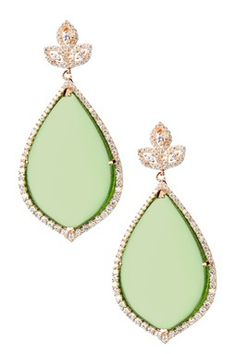 Pear Green Agate Dome Drop Earrings