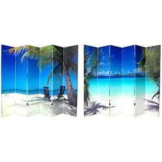 Oriental Furniture Six Ft. Tall Double Sided Ocean Canvas Room Divider Six Panel, Width - 96 Inches