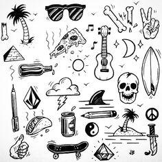Surf, skate, pizza and beer illustration by Jamie Browne. #Dessin