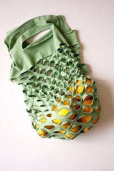 How to create a produce bag from a tee shirt. This would also be good for carrying bread, chips, and other light dry goods.