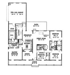 First Floor Plan of Country   Traditional   House Plan 64514  (2188 sq ft)  But smaller and with an open concept kitchen