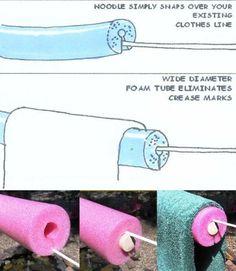 Débarrassez-vous des marques plis dans les vêtements qui doivent être sécher sur la corde en mettant une nouille de piscine sur le cordon.