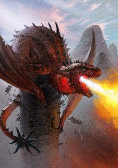 Dragon-breathing-fire-from-tower