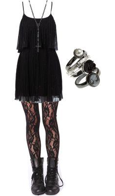 Black Flowy Dress, Black Leather Jacket, Black Lace Leggings, Black Combat Boots, Black Rose Flower Crown