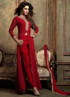 Add a vibrant burst of colour with your wardrobe with this red net and georgette designer suit. Look ravishing clad in such a attire which is enhanced embroidered and lace work. Comes with matching bo...