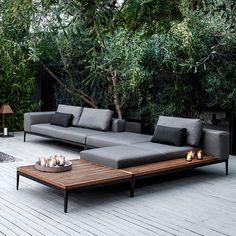 #garden 'Gloster Grid' modular chaise lounge sofa, £3,094; 'Gloster Grid' modular end unit, £3854; 'Gloster Grid' coffee table, £1,545