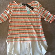 Knit top, new with tags from Stitch Fix Coral, and gray striped top Sweet Rain Tops