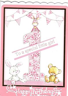 1st Birthday Card using hunkydory milestone little book of toppers.