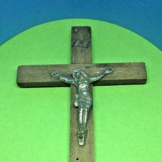 Vintage French wall mountable wood religious crucifix cross