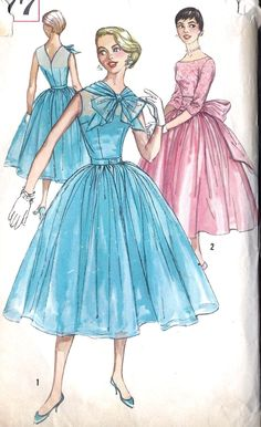 "1950s Junior Miss Prom Cocktail Party Dress Vintage Sewing Pattern, Simplicity 1855 bust 31.5"". $20.00, via Etsy."