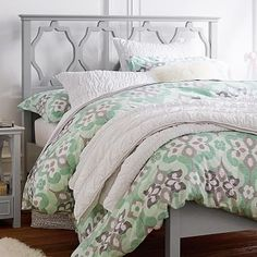 Pretty bedding in mint, grey, and white