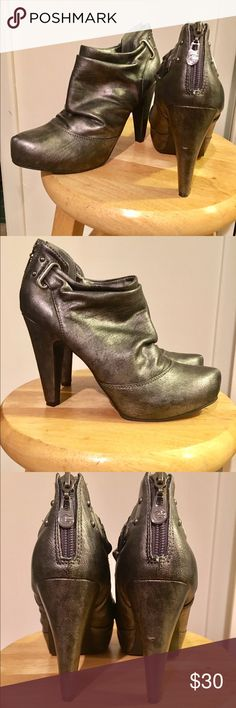 Guess slouch ankle booties Near perfect condition gunmetal colored ankle booties. G by Guess Shoes Ankle Boots & Booties
