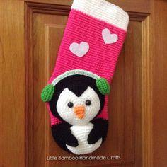 Penguin Christmas Stocking crochet pattern by Little Bamboo Handmade