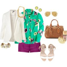 purple shorts white jacket green floral shirt white sandals