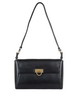 Abbey Leather Shoulder Bag, Black