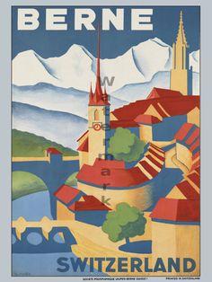 Bern, Switzerland vintage travel poster