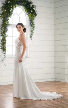 D2396 Sleek Lace Wedding Gown by Essense of Australia
