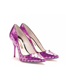 Sophia Webster - Izzy pink metallic polka heart pump with sweetheart toe shaping