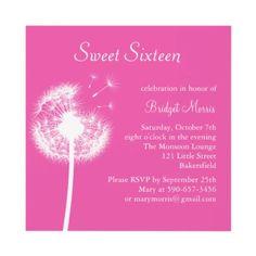 Best Wishes! (fuchsia) Custom Invite from http://www.zazzle.com/sweet+sixteen+party+invitations