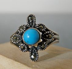 SALE Vintage Silver Marcasite and Turquoise by FourSailAccessories, $19.00