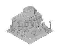 Quick concept for isometric cafe 01 by NickProkoArt