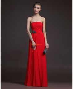 Robe de cocktail 2014 longue mousseline rouge