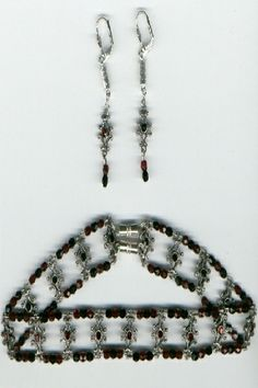 #Fashion jewellery  #MB611, reversible choker, black and merlot coloured crystals, reversible earrings to match, magnetic clasps