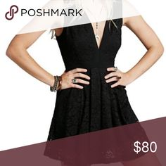 Free People black lace dress Size small black lace dress by Free People. Side hidden zipper. Has pockets! Free People Dresses